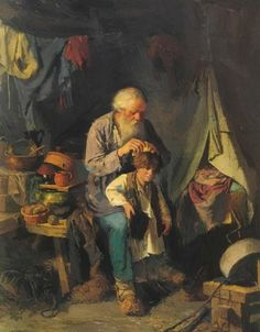 Grandfather And Grandson 1871 Art Print by Perov Vasily Russian Painting, Russian Art, Art Database, Realism Art, Office Art, Old Master, Figurative Art, Great Artists, Vintage Posters
