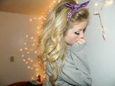 curly hair purple bandana