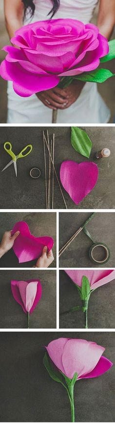 GIANT PAPER ROSE FLOWER | Photo Place. Full tutorial. Wouldn't these be pretty in a little girl's room or for her birthday??!!