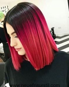 Magenta Rot Ombre Haarfarbe - All For Hair Color Trending Best Ombre Hair, Brown Ombre Hair, Red Ombre, Cool Short Hairstyles, Short Hair Styles, Black Hairstyles, Creative Hairstyles, Cabelo Ombre Hair, Colorful Hair