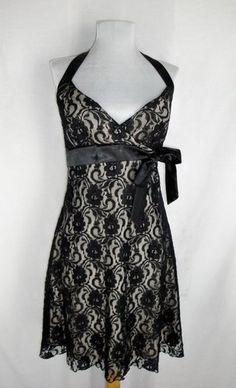 Trixxi Black Blush Lace Halter Dress Sz Jr L Misses XS Sexy Burlesque Bombshell $36.35