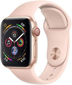 Apple Watch Series 4 (GPS + Cellular, - Gold Aluminium Case with Pink Sand Sport Band (Renewed) Iphone Se, Apple Iphone, Buy Apple Watch, Apple Watch Series, Gold Case, Sport Armband, Wireless Service, Sport Watches, Wi Fi