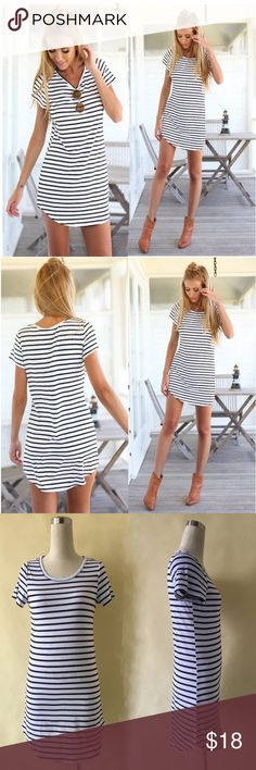 HPShort Sleeve Striped Mini Dress Brand new! Summer Style Casual Loose Short Sleeve O-Neck Loose Striped Print Dresses Casual Mini Dress sizing in pictures! More sizing soon to come and upon request Dresses Mini