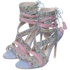 Adeline Dreamy Crystal Sandal (59.520 RUB) ❤ liked on Polyvore featuring shoes, sandals, strappy sandals, open toe shoes, laced up shoes, pink shoes and pink sandals