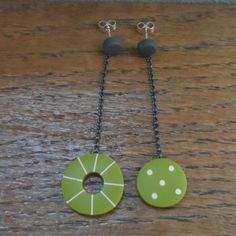 mis-match green dangle earrings | Contemporary Earrings by contemporary jewellery designer Kaz Robertson