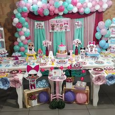 Lol Surprise Doll Birthday Party. Lol Surprise Backdrop. Lol Surprise Table settings.