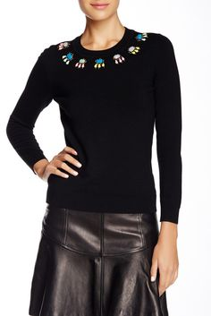 Image of Diane von Furstenberg Embellished Wool Blend Sweater