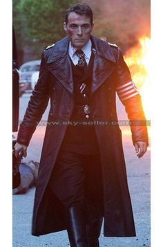 The Man in the High Castle Nazi Officer Black Coat Army Coat, Leather Trench Coat, Man High Castle, Rufus Sewell, Fur Clothing, The Little Prince, Military Fashion, Dress Codes, Poses
