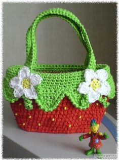 free crochet strawberry bag diagram