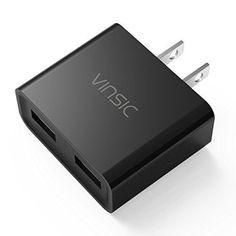 USB Charger Vinsic 12W Dual-Port USB Travel Charger Adapter 5V 2.4A CW202 #Vinsic