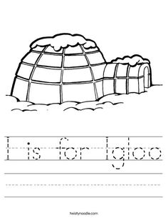 i is for igloo worksheet twisty noodle - Igloo Pictures To Color