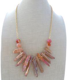 Quartz necklace, bib necklace, pink agate necklace, druzy necklace, rose beaded necklace, uk gemstone jewellery, christmas gift, gioielli by Sofiasbijoux on Etsy