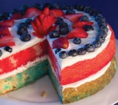 Here s a decorative dessert that looks great and tastes even better. Layers are colored red and blue with the help of Jell-O. Fresh strawberries and blueberries are a no-fuss decoration and whipped cream makes the cake look luscious. This gluten-free cake can be stored, well wrapped, for 3 days in the refrigerator. Do not freeze.