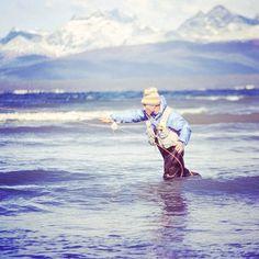 Yvon Chouinard fishing in Tierra del Fuego, Patagonia. Photo by Doug Tompkins