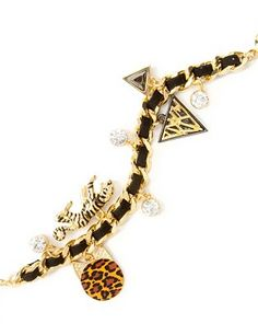Gifts for Teen Girls from the Katy Perry Claire's Line:  Katy Perry Prism Collection ROAR Gold Charm Bracelet @ Claire's