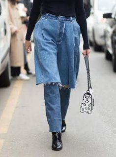 Would You Wear This Bold New Denim Style? #refinery29  http://www.refinery29.com/ksenia-schnaider-demi-denim-jeans-trend
