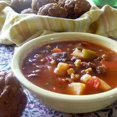 """""""Get your bread maker timed to finish at the same time and everyone will think you are superwoman!"""" —Tori   Repin this versatile soup. (Slow Cooker Beef Vegetable Soup) http://allrecipes.com/recipe/slow-cooker-beef-vegetable-soup/detail.aspx"""