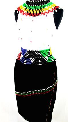 South African Women's Zulu Attire in Black South African Dresses, South African Fashion, African Fashion Designers, Africa Fashion, African Wear, African Attire, African Fashion Dresses, African Women, African Style