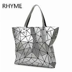 [ 28% OFF ] Rhyme Fold Diamond Woman Bag Lattice Tote Quiltied Geometry Handbag Ladies Geometric Shoulder Bag