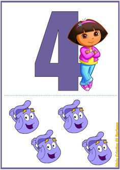 Match number to quantity. Dora with matching number of 'backpacks' Numbers Preschool, Math Numbers, Letters And Numbers, Alphabet Writing, Hindi Alphabet, Barbie Party, Birthday Numbers, Dora The Explorer, Baby Education