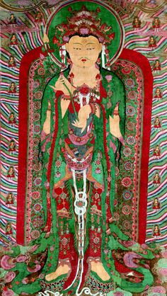 This uncommonly large Buddhist hanging scroll was painted in 1692. Almost 8.3 meters in height, it was originally placed at the Geumdangsa Temple, Korea.