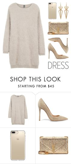 """Party On: Long Sleeve Dress"" by lgb321 on Polyvore featuring Eleventy, Gianvito Rossi, Speck, Yves Saint Laurent and longsleeve"