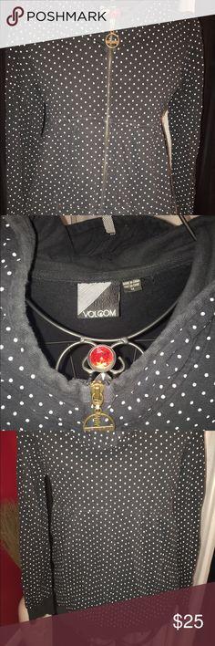 Volcom polka dot hoodie black medium zip Black and slightly offwhite dot zip hoodie from Volcom in size medium Volcom Jackets & Coats