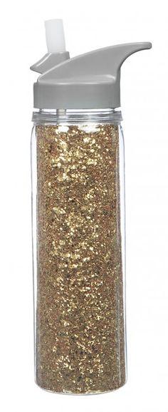 Acrylic Water Bottle - Gold Glitter - would like in pink though :) Cute Water Bottles, Best Water Bottle, Drink Bottles, Glitter Water Bottles, Make Up Palette, Glitter Acrylics, Gold Glitter, Glitter Cardstock, Glitter Gif