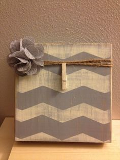 Distress Painted Grey and Antique White Wood Photo Frame with Flower & Clip Holder (Can be Customized) on Etsy, $15.00