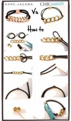 Tutoriel bijoux : bracelet élastique et chaîne DIY - Marie Claire Idées