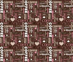 Coffee typography fabric by littlesmilemakers on Spoonflower - custom fabric - wallpaper and wrapping paper and some DIY inspiration by Maaike Boot