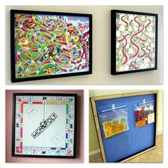 Neat idea for decorating a kids play room! Or just a great way to display your board games if you are short on storage!