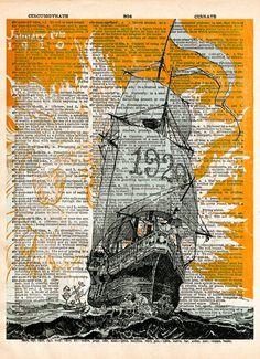 vintage advertising art, Sailing ship 1920's sea goddess, nautical art, vintage dictionary page book art print