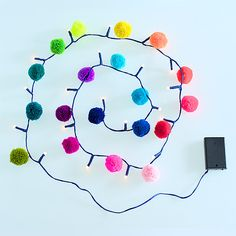 Pom Pom Fairy Lights - Rainbow from Totally Funky
