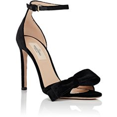 Valentino Women's Bow-Embellished Velvet Ankle-Strap Sandals ($795) ❤ liked on Polyvore featuring shoes, sandals, ankle strap sandals, open toe high heel sandals, valentino shoes, embellished sandals and ankle tie sandals