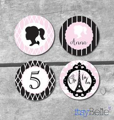 Pink and Black Girl Paris Birthday Printable Party Collection by ItsyBelle  #paris #party #ohlala #french #parisian #silhouette #fashion #barbie #dress up