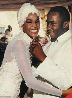 Whitney Houston and Bobby Brown on their wedding day in 1992