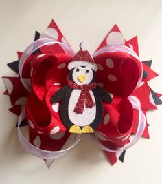 Red and White Penguin Christmas Bow
