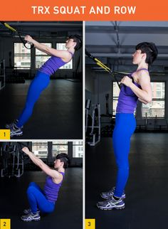45 Insanely Effective TRX Exercises. I love TRX! Here's the TRX Squat and Row