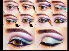 Pas à pas maquillage vert violet et rose