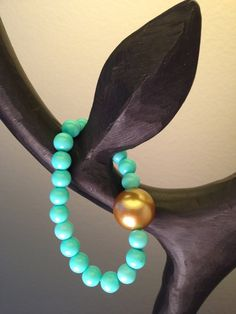 Aqua blue bead bracelet with oversized gold by by2y on Etsy