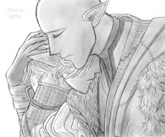 Mourning by Karinini on DeviantArt Solas and Lavellan, Solavellan, Dragon Age: Inquisition