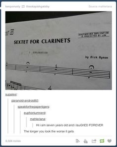 Not that funny except for the writers name. Dick Hymen it's just sad Funny Quotes, Funny Memes, Hilarious, Kid Memes, Music Jokes, Funny Music, Marching Band Memes, Hymen, Band Jokes
