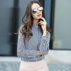 7508c7da8c6 Express Buyers  Veri Gude Vertical Striped Blouse Women Slim Fit L...  Striped