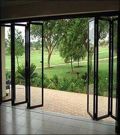 Door Design, House Design, Folding Patio Doors, Door Window Treatments, Aluminium Doors, Garden Landscape Design, Landscaping Design, Garden Landscaping, Windows And Doors