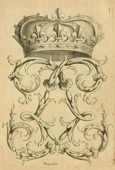 French Crown and Flourish, 1685 300ppi, 6x9""