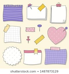 Note paper or sticky note vector set - Stock Vector , Doodle Bullet Journal, Bullet Journal Banner, Bullet Journal Writing, Journal Stickers, Planner Stickers, Colorful Notes, Memo Notepad, Note Doodles, Doodle Drawings