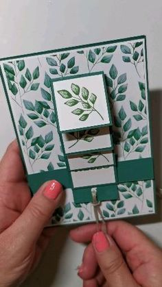 Forever Fern Stamp and Forever Greenery DSP Waterfall Card Fun Fold Cards, Folded Cards, Handmade Birthday Cards, Greeting Cards Handmade, Arte Pop Up, Stamping Up Cards, Rubber Stamping, Stampin Up Anleitung, Waterfall Cards