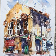 Campbell Lane, Little India, Singapore. #urbansketcherssingapore #urbansketching #urbansketchers #paintings #watercolor #singaporestreet #shophouse #sketching   par PaulArtSG