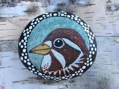 Painted Stone, Painted Rock, Bird Painting, Fox Sparrow, Rock Painting, Stone Painting, Paperweight, Home Decor, Ornament, OneStonedBird